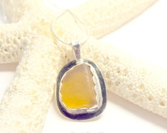 Sea Glass Gift, Sterling Sea Glass Necklace, Rare Sea Glass Necklace, Yellow Vintage Glass Jewelry, Sea Glass Jewelry