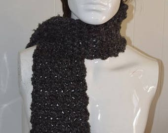 Charcoal Gray Super Chunky Wide Scarf