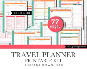 Travel Planner Printable Set - Household Binder Inserts - Letter Size - 8.5 x 11 inches PDF