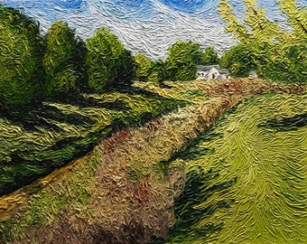 "Original Impressionist Impasto Landscape Painting ""Down the Drain"" 16x20"