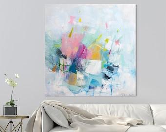 """Große abstrakte Malerei, leinwandmalerei, abstrakte Kunst, zeitgenössische Kunst, bunte moderne Malerei """"Nur spielen 04"""""""