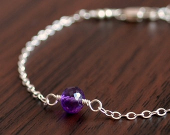 Real Amethyst Bracelet, Sterling Silver, Child Children Girl, Genuine AAA Gemstone, Wire Wrapped, February Birthstone Jewelry