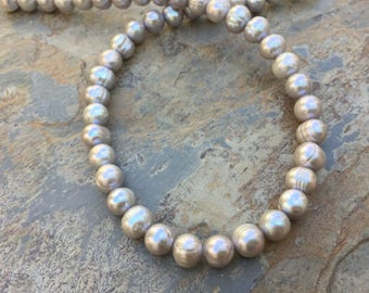 Large Silver Pearl Beads, Potato Pearls, Silver Pearls, 10mm approx., 16 inch strand