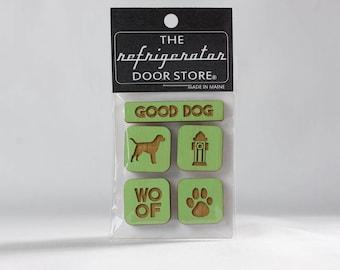 Gift for dog lover. Refrigerator Magnet. Fridge Magnets. Kitchen Decor. Fridge Magnet Set. Good Dog.