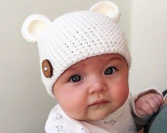 Teddy Bear Beanie & Bootie Set • Handmade crochet (knit) cotton yarn baby set perfect for babyshower gift