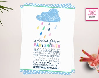 "RAINDROP BABY SHOWER, Baby ""Shower"" Invitation, Raindrop shower,  rain shower invite, rain shower invitation, Raindrop, raindrops, rain"