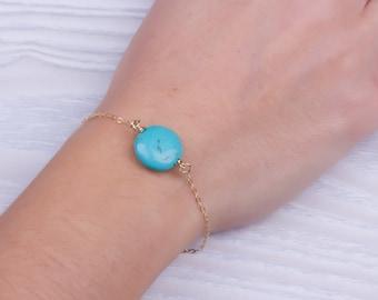 Personalized Turquoise bracelet / Bridesmaid bracelet / Layered bracelet / Turquoise jewelry/ Silver bracelet / Stone bracelet/AntiopeVol2