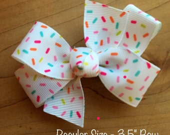 Donut Hair Bow - White, Sprinkles Bow, Donut Party, Sprinkles Hair Bow, Sprinkles, Donuts, Sprinkles Hair Bow, Donut Bow