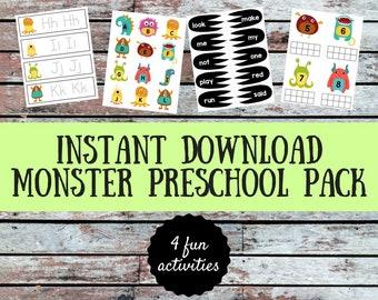 Monster Preschool Pack | Instant Download | Homeschool Preschool