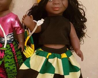 African doll + Ankara/Kente outfit