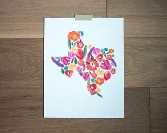 Texas print - texas flowers - texas painting - texas decor - home decor - bold florals