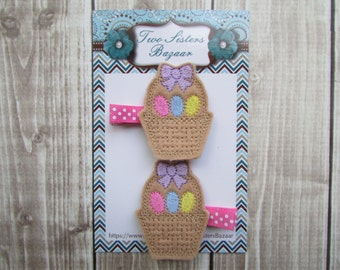 Easter Hair Clip, Easter Basket Hair Clip, Easter Girl, Easter Gift, Girls Hair Clip