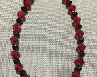 Red and Black Glass Crystal Bracelet