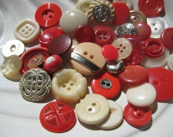Berries and Cream Vintage Button Collection - 43 unique buttons