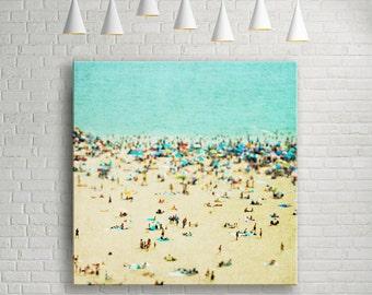 "Coney Island Beach Canvas Gallery Print // 40x40"" Ready to Hang // 100% Cotton Canvas // Large Beach Photography // Large Beach Canvas Art"