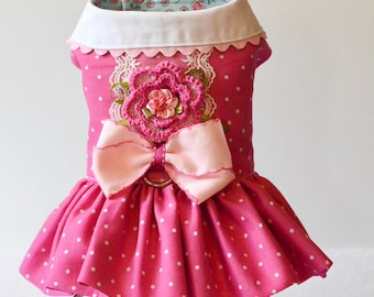 Pink Polka dot floral dress for a dog