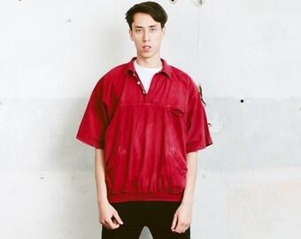 Vintage Red Shirt. Vintage 80s Smock Jacket Outerwear Mens Red Jacket Mens Anorak Jacket Spring Windbreaker . size Extra Large XL