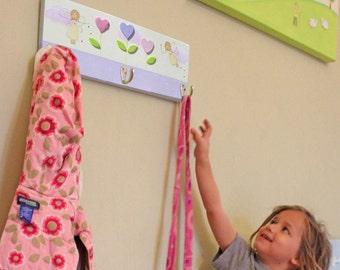Nursery Peg rack, Kids coat hanger, Towel rack - Fairies and flowers GIRLS coat rack - Chilrens' customized Harts peg rack - Purple rack
