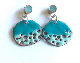 Enamel/Copper/Resin Earrings Asymmetrical Turquoise Blue Discs with Holes Posts Studs