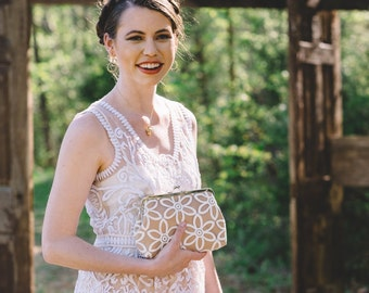 Sunflower Lace Bridal Clutch with Organza Embroidered Lace | Vintage-Style Bridal Clutch Purse | Custom Clutch Purse, Eight inch Frame