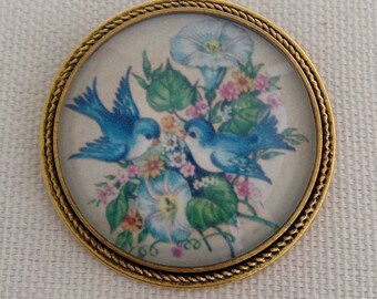 Vintage Little Blue Bird Couple In The Morning Glory Flowers Antiqued Gold Tone Brooch