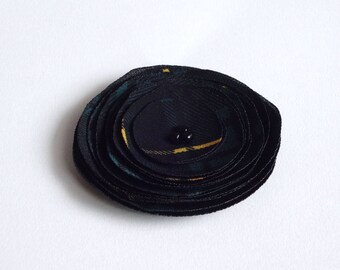 Handmade Dark Teal Blue and Black Plaid Fabric Poppy Embellishment
