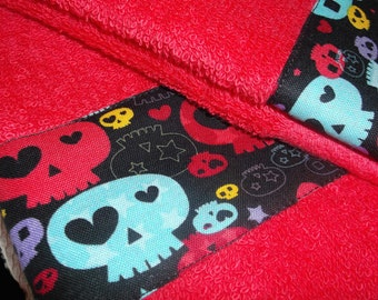 Sugar Skull Towel, Day of the Dead, Mexican Fabric, Mexican Kitsch, Mexican Holiday, Sugar Skull Decor, Mexican Folk Art, Sugar Skull Fabric