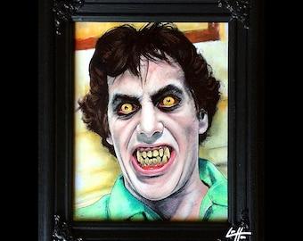 American Werewolf in London - Original Drawing David Naughton Wolf John Landis Horror Lowbrow Pop Art Comdey Dark Art Monster 80s Halloween