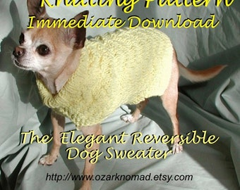 Immediate Download - PDF Knitting Pattern -Elegant Reversible Dog Sweater