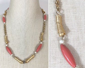 Vintage Gold Pearl and Coral Bead Chain Necklace, perfect for a pendant, upcycle