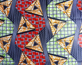 African wax by 0.50 m graphic red, green and orange fabric