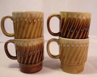Creamic Drip Glage Stacking Coffee Cups Japan set of 4