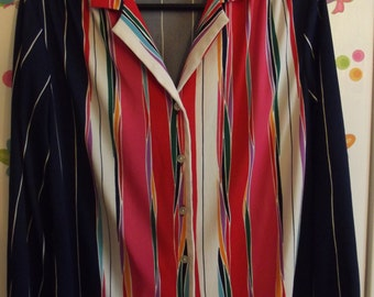 Vintage Ladies Blouse - from Anna of California - Size Medium 8-10 - Navy Blue with Bold Colors... Very Mary Tyler Moore!