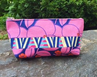 Navy Blue Bloom Makeup Bag, Cosmetic Case, Toiletry Bag, Cosmetic Bag, Makeup Case