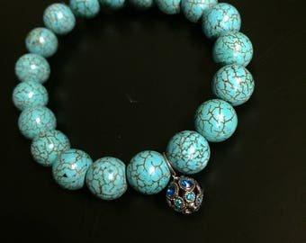 Turquoise Blue Howlite Beaded Stretch Bracelet