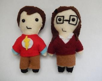 Fanmade Amy & Sheldon (Shamy)felt plush dolls  (MADE TO ORDER)
