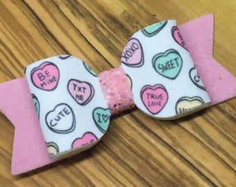 Candy Heart Hair Bows - Candy Heart Bow, hair bows, candy hearts, heart bows, candy heart, valentines bows, valentines day, valentines