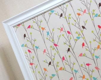 Wall Decor - Magnetic Memo Board - Dry Erase Board - Framed Bulletin Board - Colorful Bird Design - includes magnets
