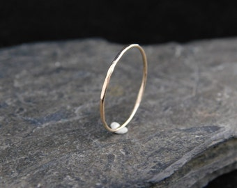 Super skinny ring, sterling silver or 14k gold filled (yellow or rose), hammered, 20 gauge. Skinny ring, thin ring, stacking ring.