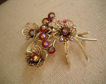 Vintage ruby red rhinestone brooch Siam AB gold flower brooch
