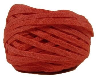 Flat Braid, 100% Organic Cotton, 25 Yards, Hand-Dyed, Coral