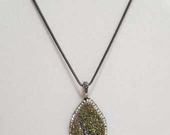 Tear drop Druzy Pendant Necklace