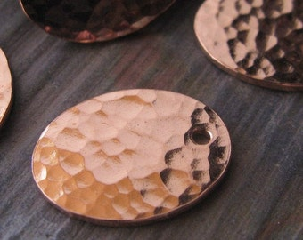 AGB handmade copper jewelry findings textured oval drops 16x12mm Justina 2 pieces