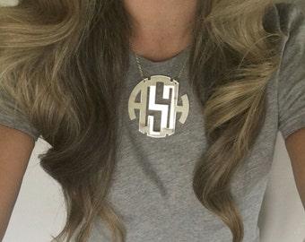 """XXL 3"""" Silver Mirror Acrylic Monogram Necklace"""