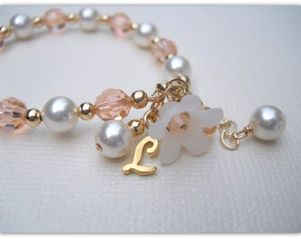 Flower Girl Baptism Bracelet Personalized Bracelet in Gold Fill with Swarovski Pearls and Crystals