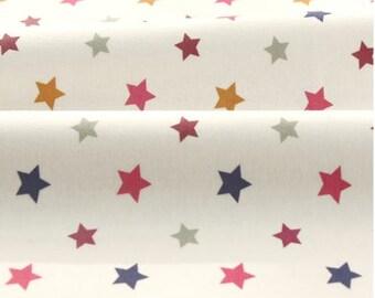 Mini Stars Pink Pattern 40s Cotton Interlock Knit Fabric by Yard