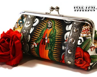 Black Day of the Dead Clutch with Your Choice of Vinyl Trim, Rockabilly Bag, Contigo Print - MADE TO ORDER
