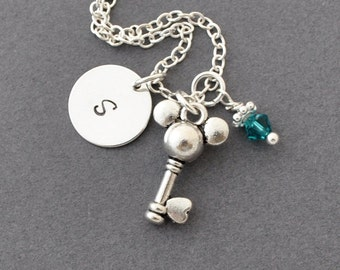 Mickey mouse key Necklace, Birthstone Initial Necklace, Monogram, mickey charm, silver key charm, personalized jewelry, mickey mouse key