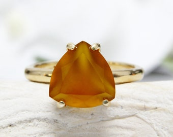 SUMMER SALE - yellow ring,semiprecious ring,natural stone ring,gemstone ring,chalcedony ring,trillion ring