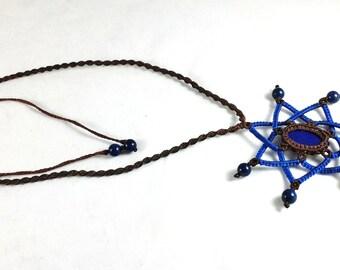 Beaded Lapis Lazuli Macramé Mandala Necklace